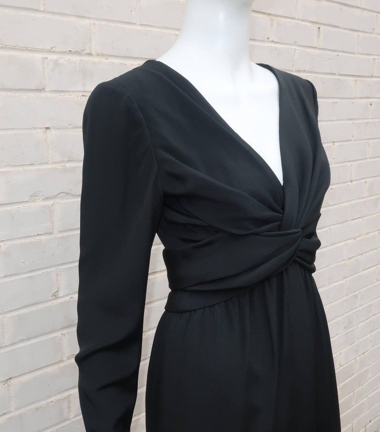 Women's Circa 1980 Bill Blass Black Silk Cocktail Dress With a Twist For Sale