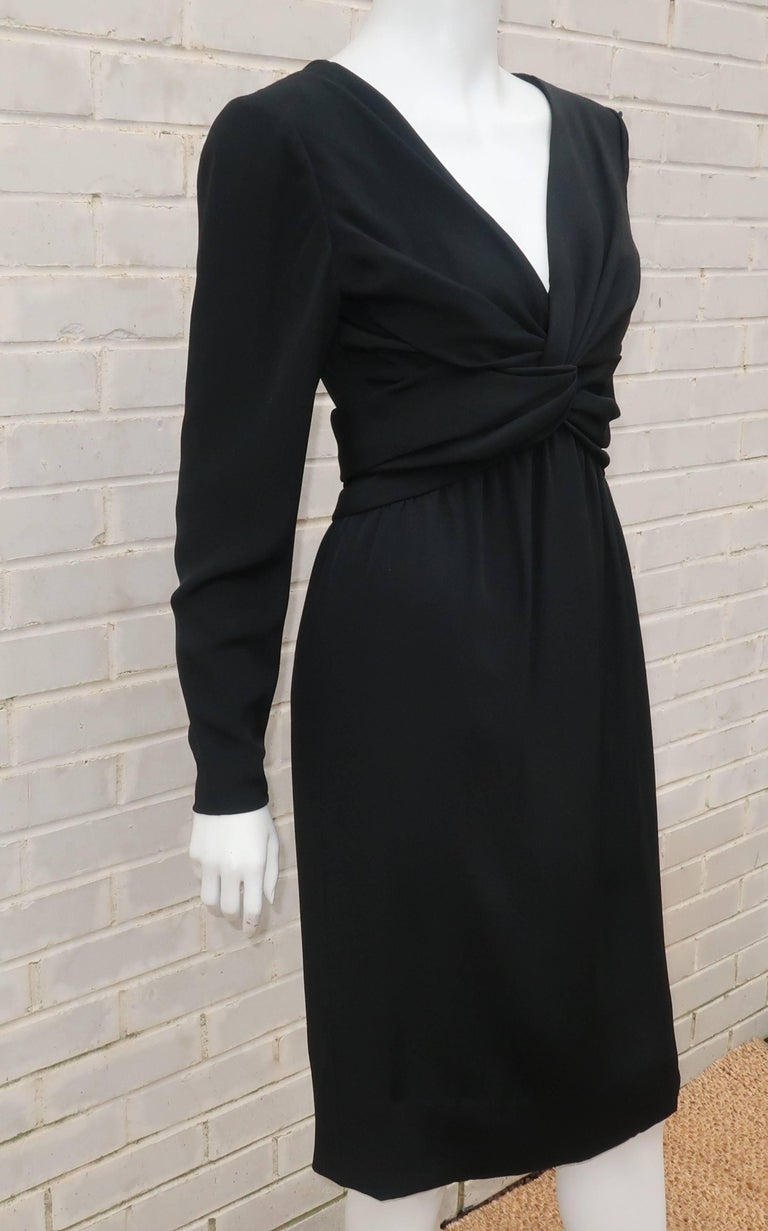 Circa 1980 Bill Blass Black Silk Cocktail Dress With a Twist In Excellent Condition For Sale In Atlanta, GA