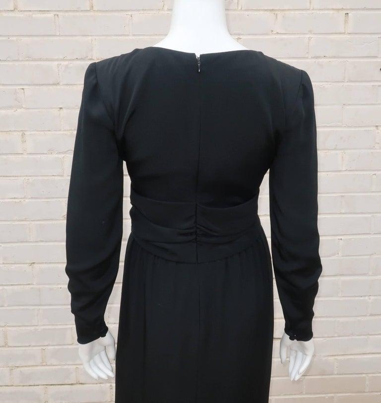 Circa 1980 Bill Blass Black Silk Cocktail Dress With a Twist For Sale 5