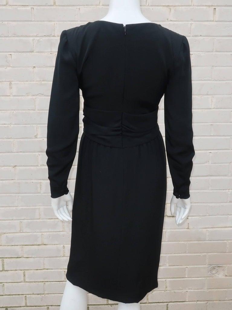 Circa 1980 Bill Blass Black Silk Cocktail Dress With a Twist For Sale 4