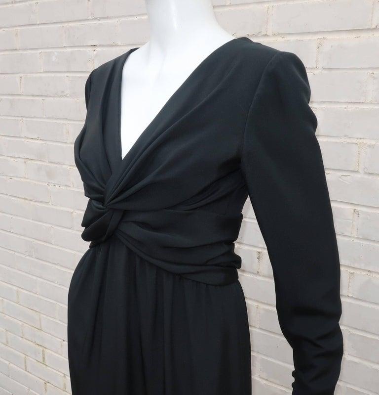 Circa 1980 Bill Blass Black Silk Cocktail Dress With a Twist For Sale 2