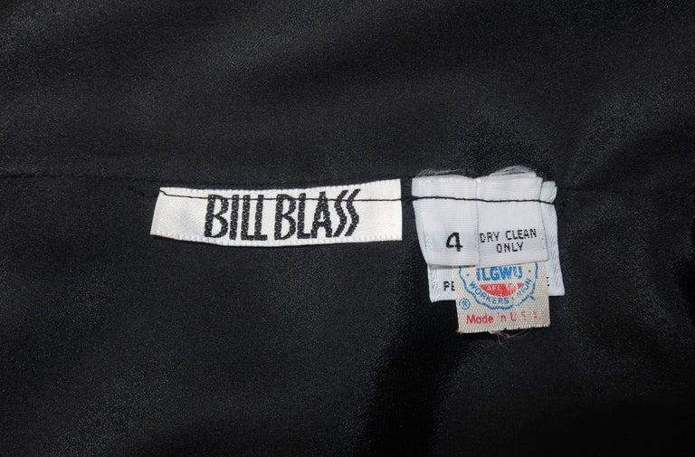 Circa 1980 Bill Blass Black Silk Cocktail Dress With a Twist For Sale 6