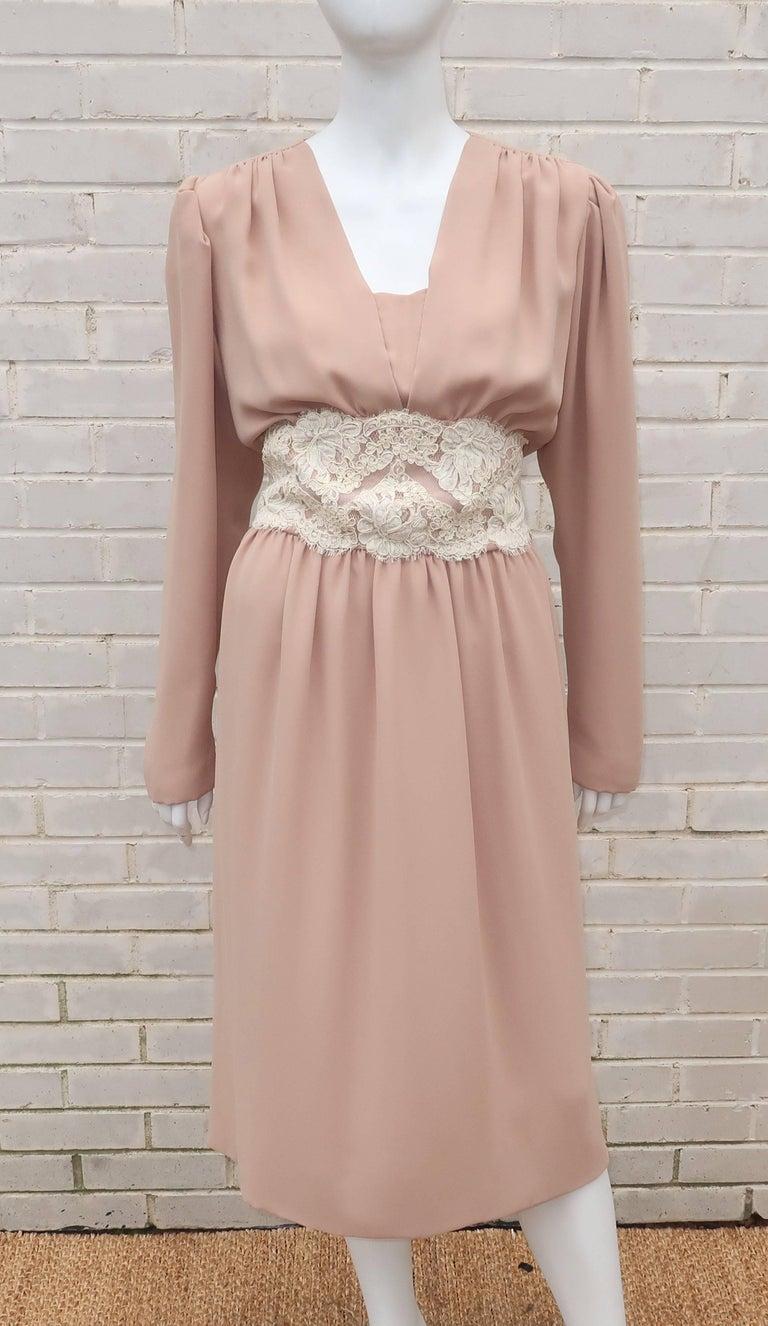 1970's Helga Light Beige Georgette Dress With Lace Cummerbund In Good Condition For Sale In Atlanta, GA