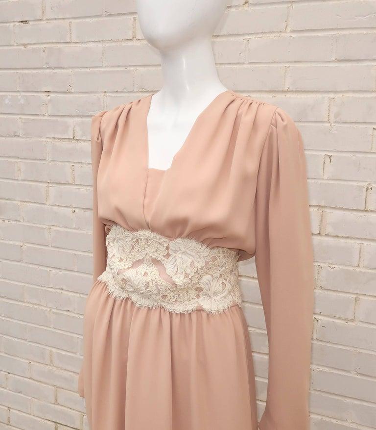 1970's Helga Light Beige Georgette Dress With Lace Cummerbund For Sale 2