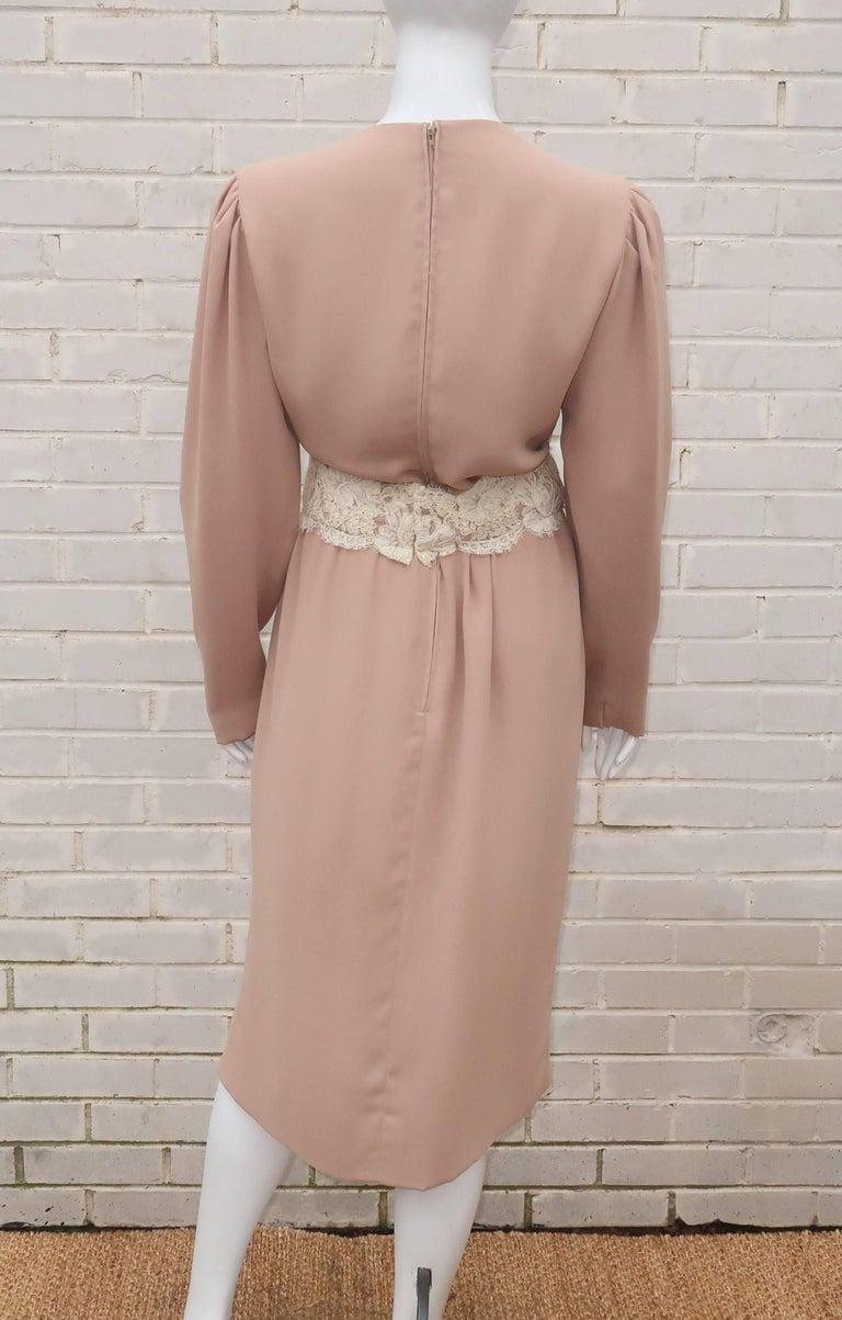 1970's Helga Light Beige Georgette Dress With Lace Cummerbund For Sale 4