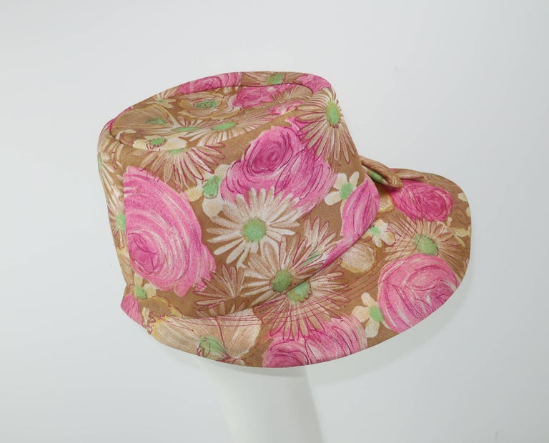 Claire Ann Floral Floppy Hat, 1960s   In Good Condition For Sale In Atlanta, GA