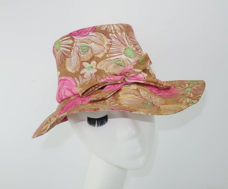 Brown Claire Ann Floral Floppy Hat, 1960s   For Sale