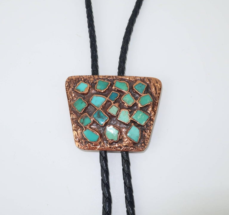 Brutalist Copper Turquoise Western Belt Buckle and Bolo Tie, Circa 1960  For Sale 2