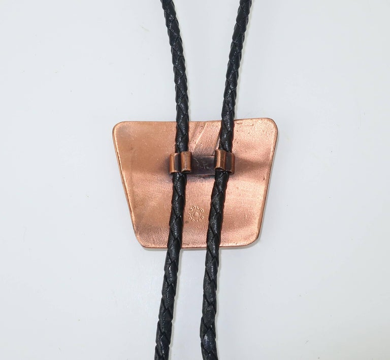 Brutalist Copper Turquoise Western Belt Buckle and Bolo Tie, Circa 1960  For Sale 3