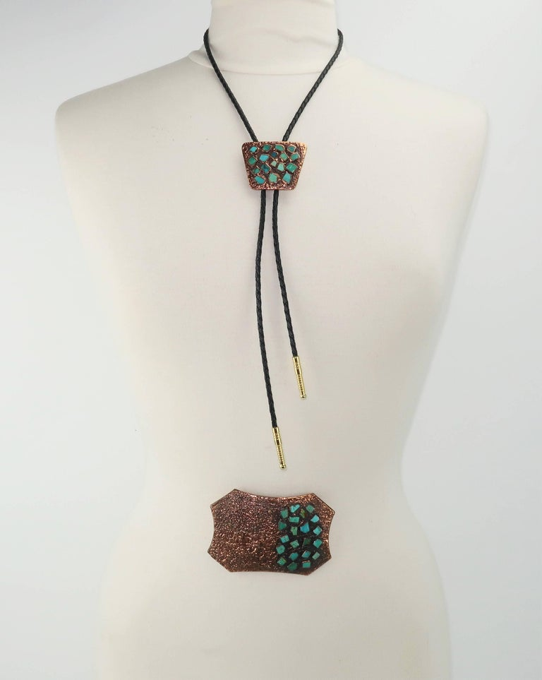 Brutalist Copper Turquoise Western Belt Buckle and Bolo Tie, Circa 1960  For Sale 5