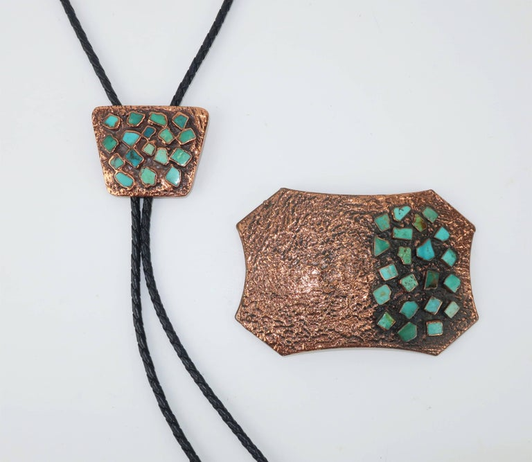 Wear your western wear in style with this fabulous solid copper set from Bell Trading Company, specialists in Native American Indian jewelry from 1935 until 1972.  The brutalist design offers an interesting combination of texture and reflection