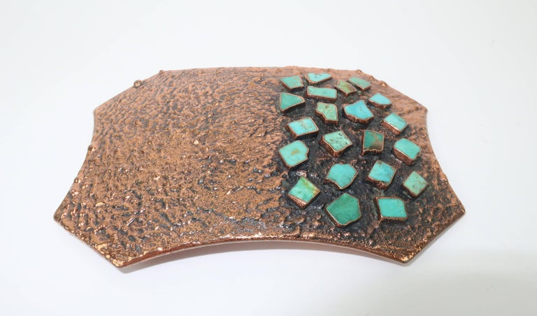 Brutalist Copper Turquoise Western Belt Buckle and Bolo Tie, Circa 1960  In Good Condition For Sale In Atlanta, GA
