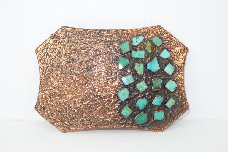 Gray Brutalist Copper Turquoise Western Belt Buckle and Bolo Tie, Circa 1960  For Sale