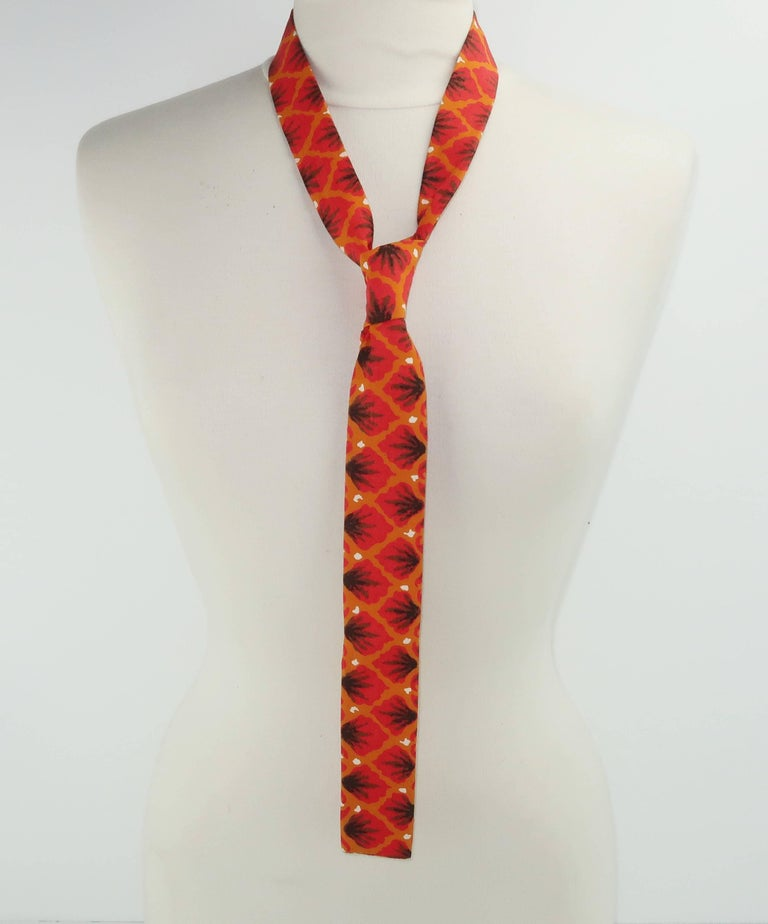 Exotic 1960's Orange Skinny Square Men's Necktie For Sale 3