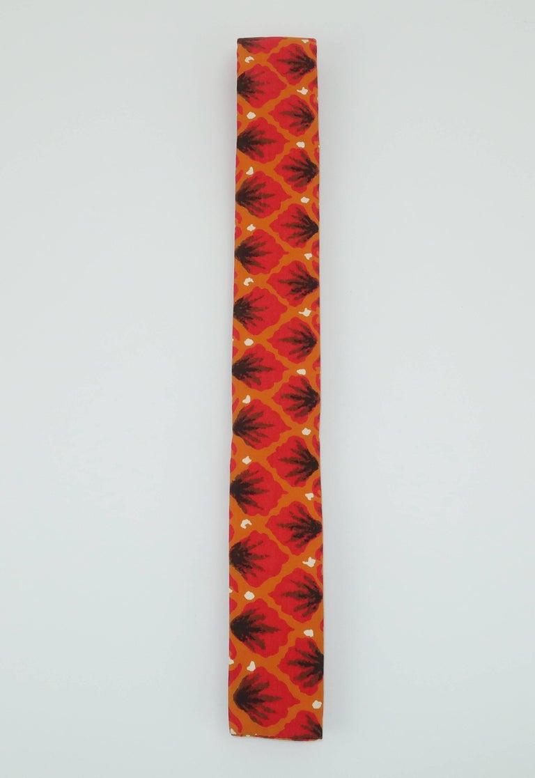 Red Exotic 1960's Orange Skinny Square Men's Necktie For Sale