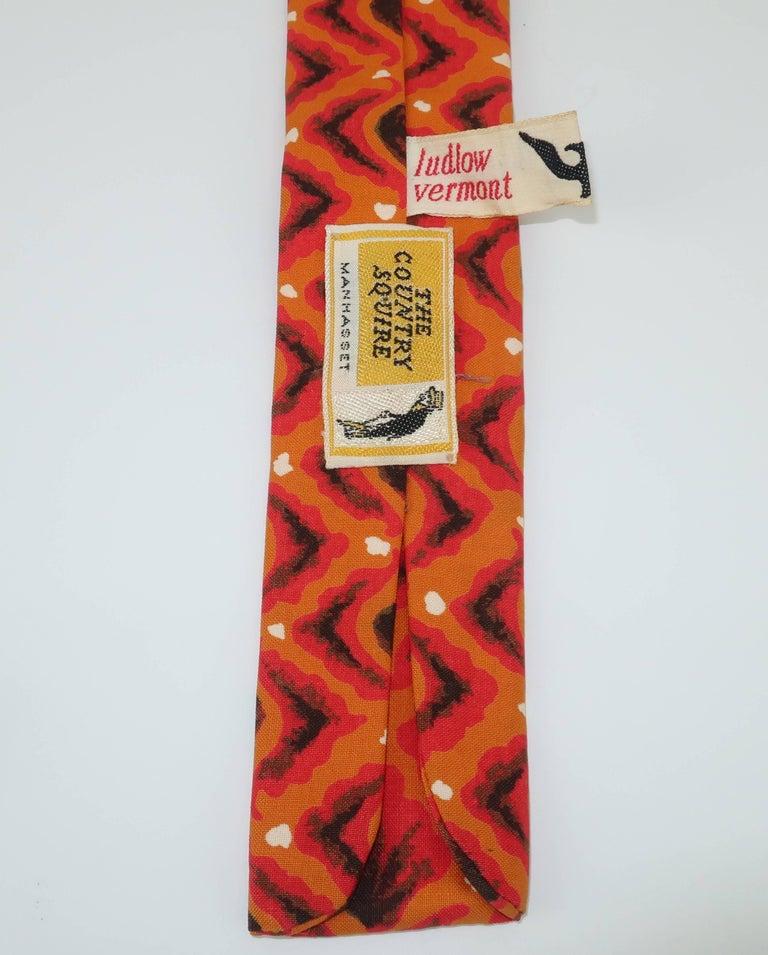 Exotic 1960's Orange Skinny Square Men's Necktie For Sale 2