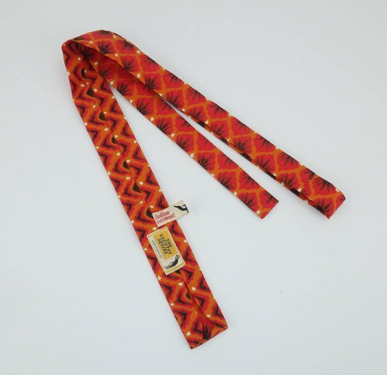Women's or Men's Exotic 1960's Orange Skinny Square Men's Necktie For Sale