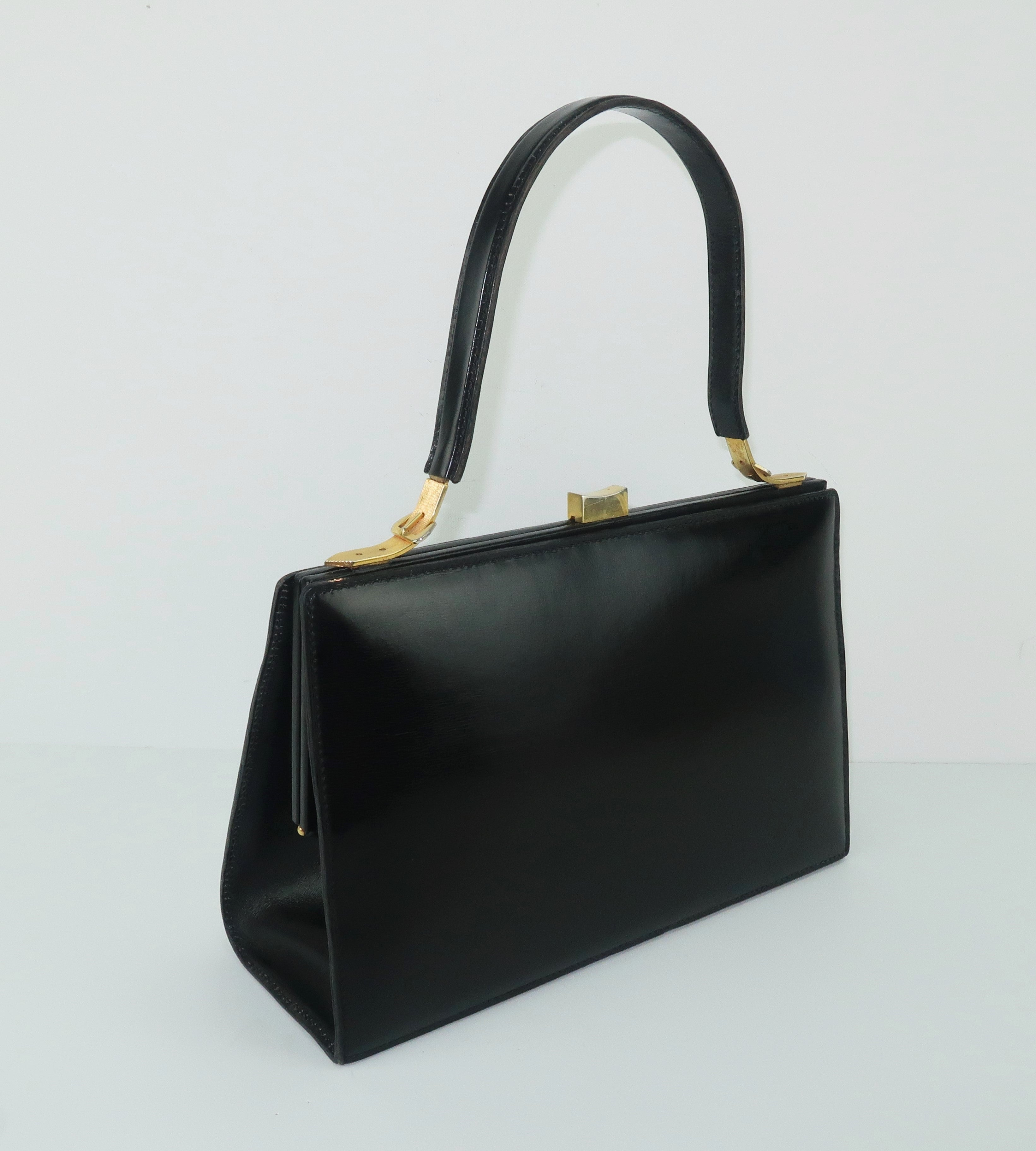 706763842e1 Lancel Black Leather Handbag With Buckle Handle, 1950s For Sale at 1stdibs