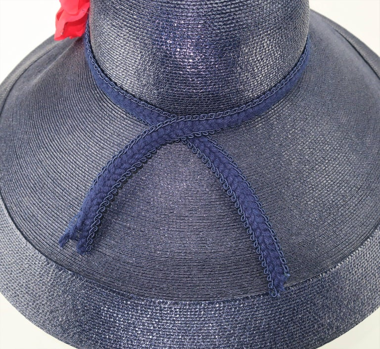 Patricia Underwood Blue Straw Wide Brim Hat With Rose, 1980s  In Good Condition For Sale In Atlanta, GA