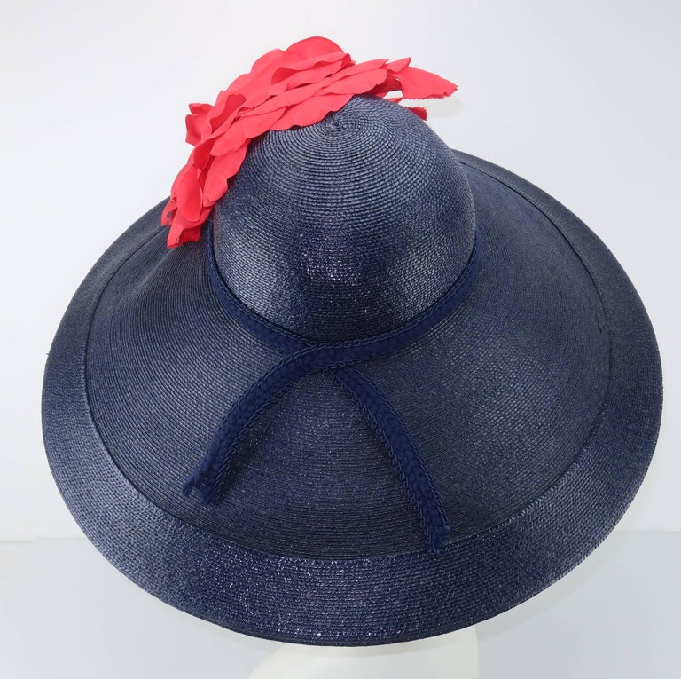 Black Patricia Underwood Blue Straw Wide Brim Hat With Rose, 1980s  For Sale