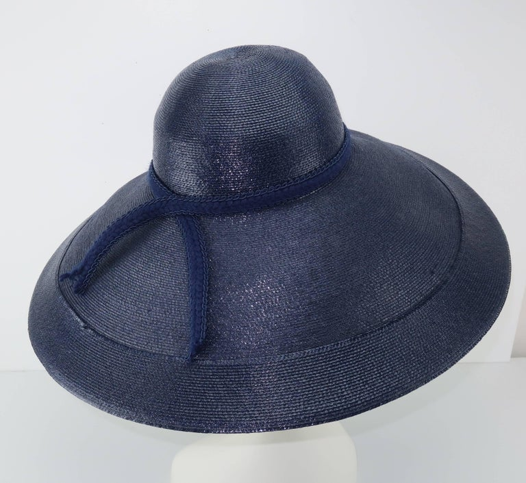 Patricia Underwood Blue Straw Wide Brim Hat With Rose, 1980s  For Sale 2