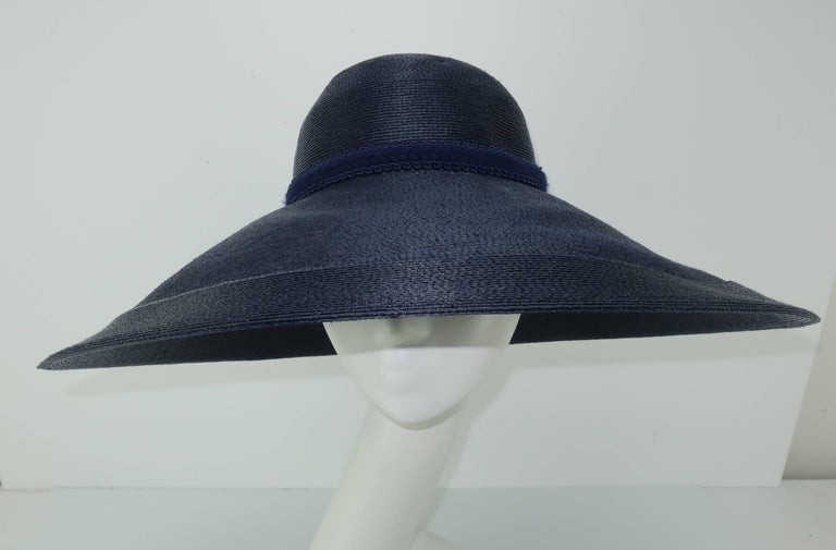Patricia Underwood Blue Straw Wide Brim Hat With Rose, 1980s  For Sale 1