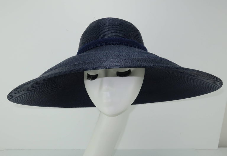 Women's Patricia Underwood Blue Straw Wide Brim Hat With Rose, 1980s  For Sale