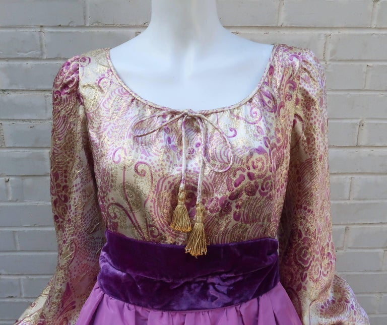 1970's Mignon Gold Lamé & Orchid Taffeta Peasant Dress Ensemble For Sale 1