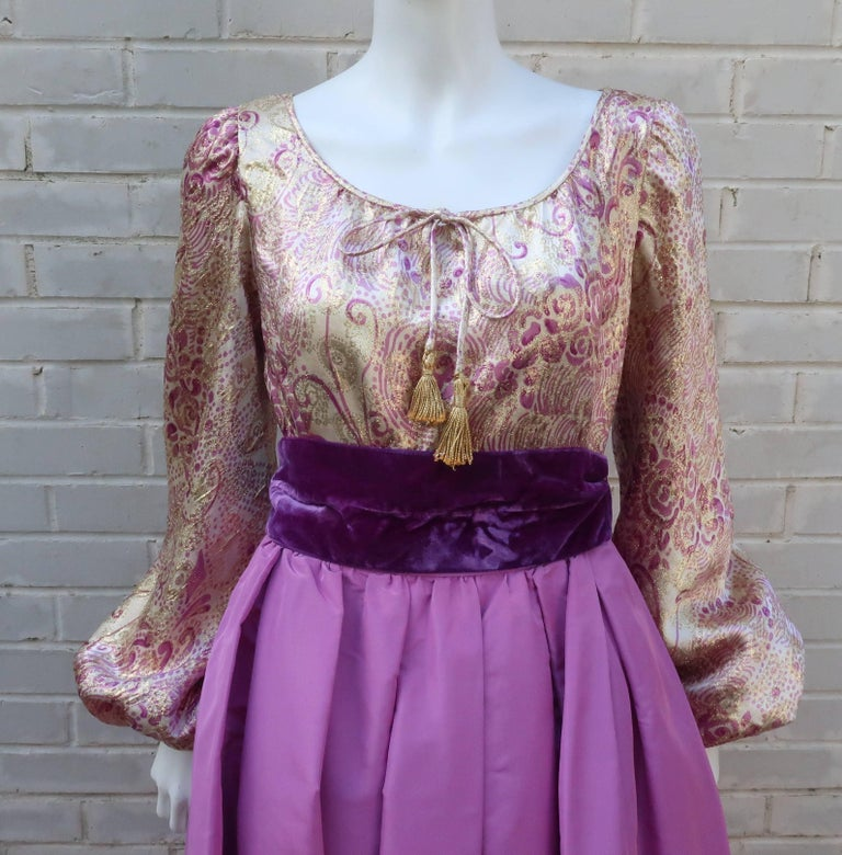 Women's 1970's Mignon Gold Lamé & Orchid Taffeta Peasant Dress Ensemble For Sale