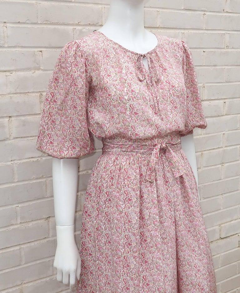 Women's C.1980 Oscar de La Renta Two Piece Silk Floral Peasant Dress For Sale