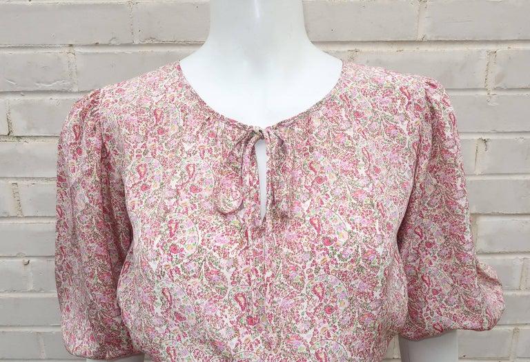 Brown C.1980 Oscar de La Renta Two Piece Silk Floral Peasant Dress For Sale