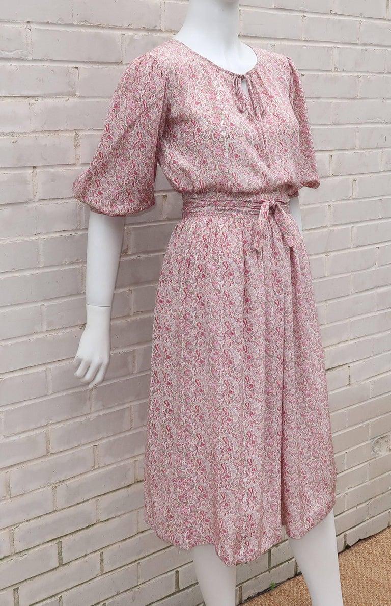 C.1980 Oscar de La Renta Two Piece Silk Floral Peasant Dress For Sale 1