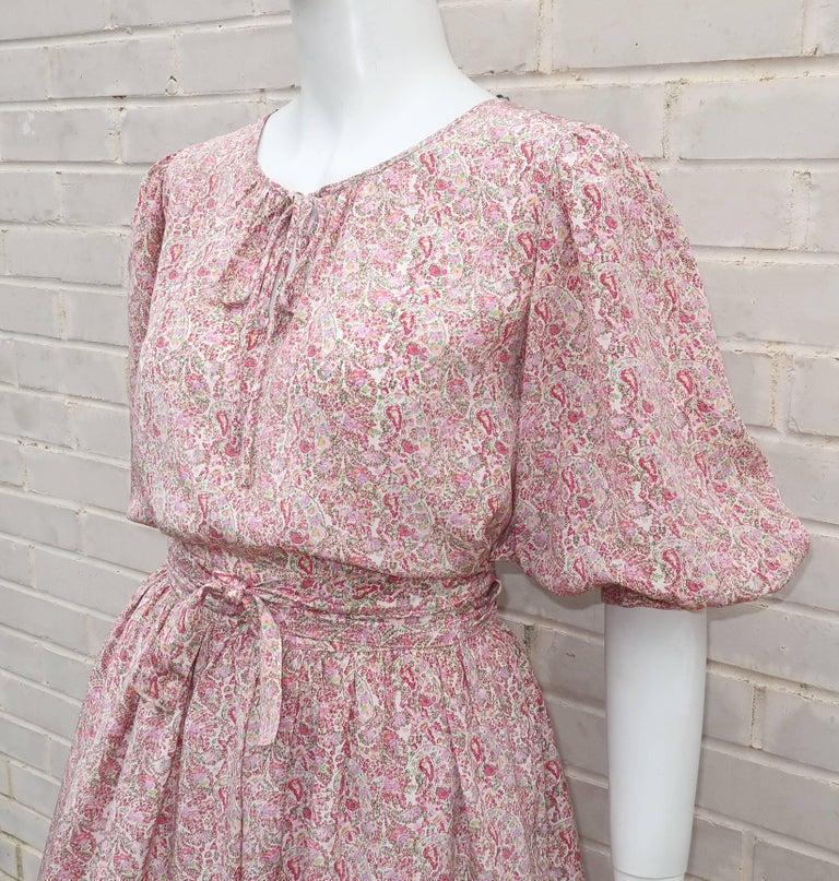 C.1980 Oscar de La Renta Two Piece Silk Floral Peasant Dress For Sale 2
