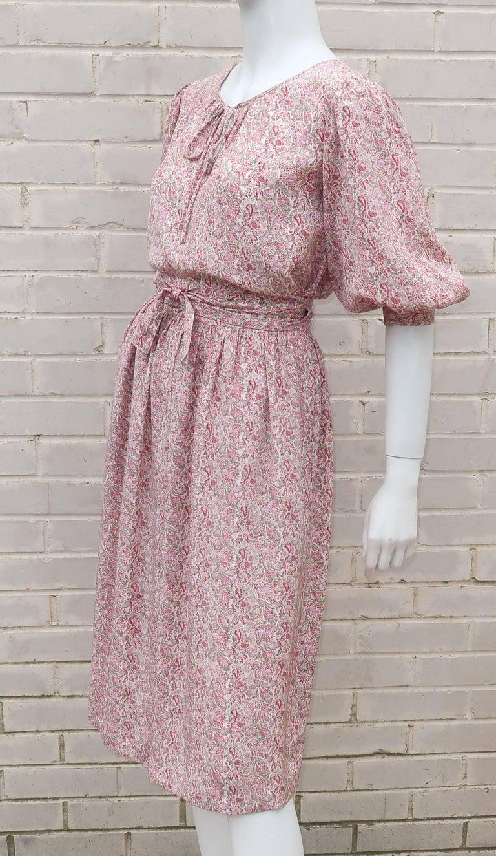 C.1980 Oscar de La Renta Two Piece Silk Floral Peasant Dress For Sale 3