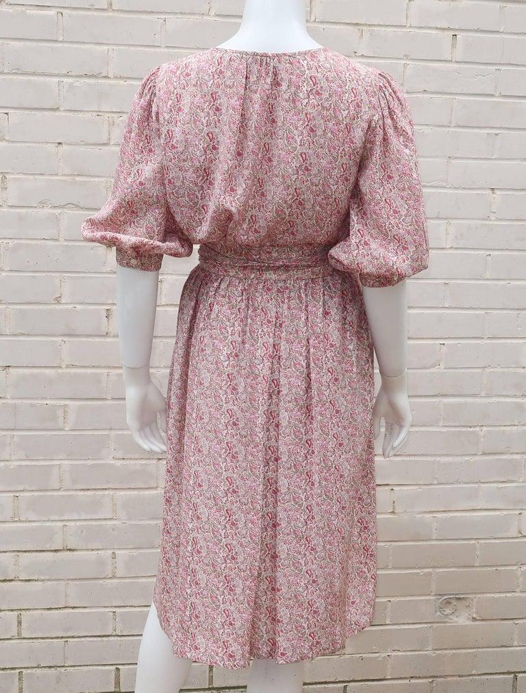 C.1980 Oscar de La Renta Two Piece Silk Floral Peasant Dress For Sale 4