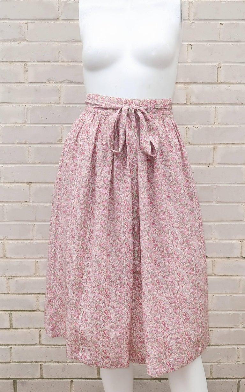 C.1980 Oscar de La Renta Two Piece Silk Floral Peasant Dress For Sale 6