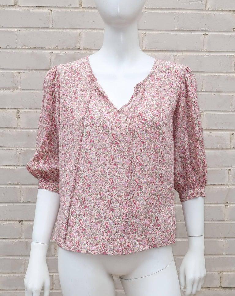 C.1980 Oscar de La Renta Two Piece Silk Floral Peasant Dress For Sale 5