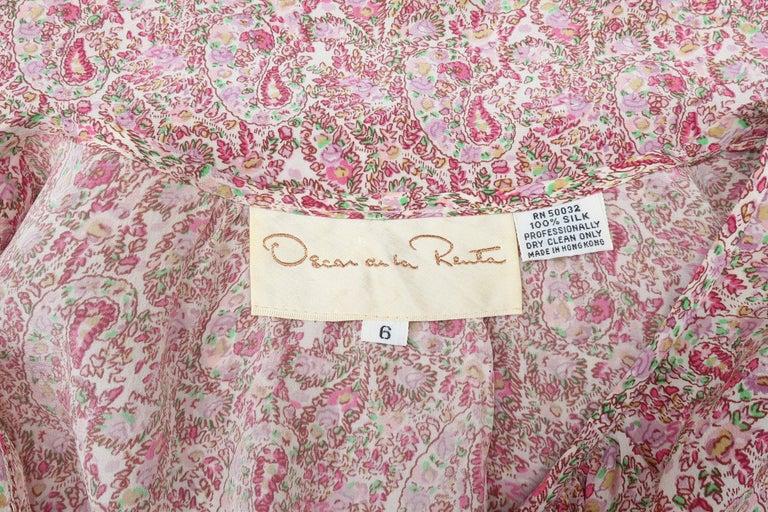 C.1980 Oscar de La Renta Two Piece Silk Floral Peasant Dress For Sale 7