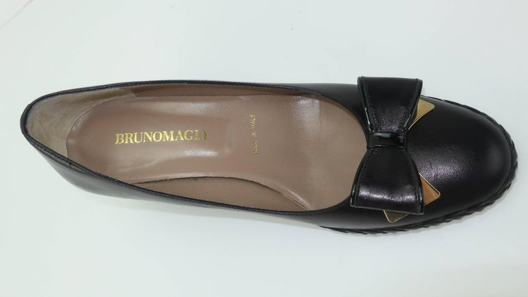 Bruno Magli Black Leather Wedge Shoes With Bow Tie Detail Sz 37 For Sale 6