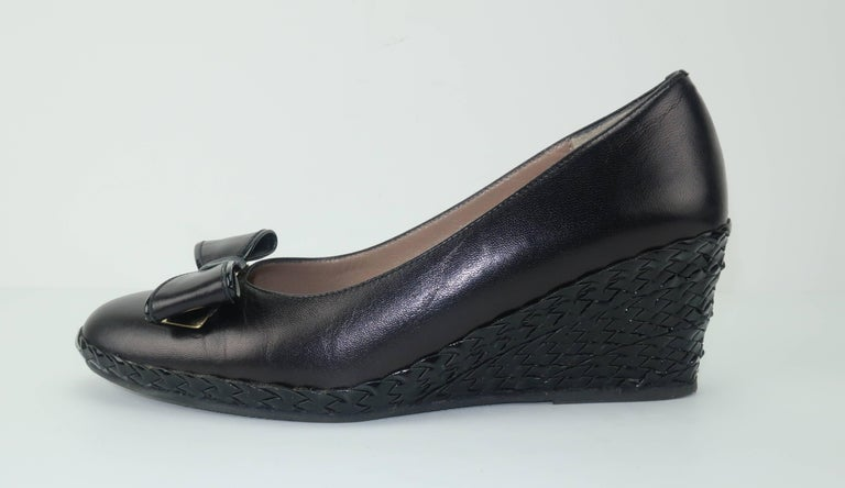 Bruno Magli Black Leather Wedge Shoes With Bow Tie Detail Sz 37 For Sale 5