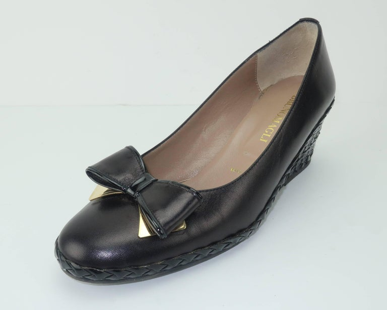 Bruno Magli Black Leather Wedge Shoes With Bow Tie Detail Sz 37 For Sale 4