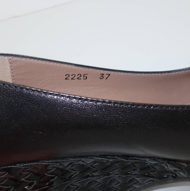 Bruno Magli Black Leather Wedge Shoes With Bow Tie Detail Sz 37 For Sale 7