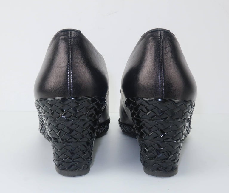 Bruno Magli Black Leather Wedge Shoes With Bow Tie Detail Sz 37 For Sale 1