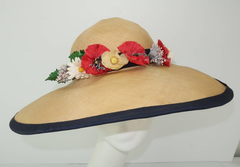Garden Party Anyone This C 1950 Wide Brimmed Natural Straw Hat By Christine Original