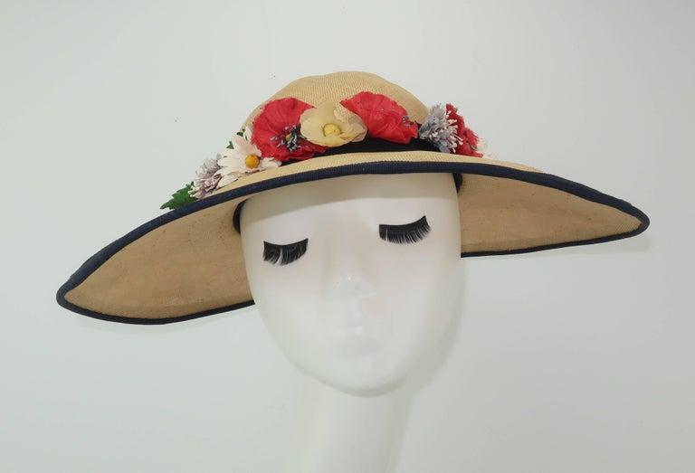 Brown C.1950 Christine Original Straw Garden Party Wide Brimmed Hat For Sale