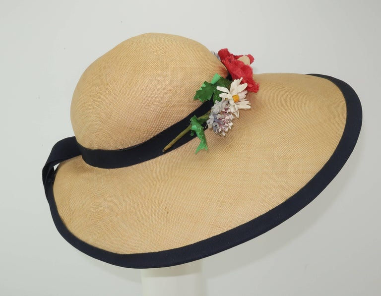 C.1950 Christine Original Straw Garden Party Wide Brimmed Hat In Good Condition For Sale In Atlanta, GA
