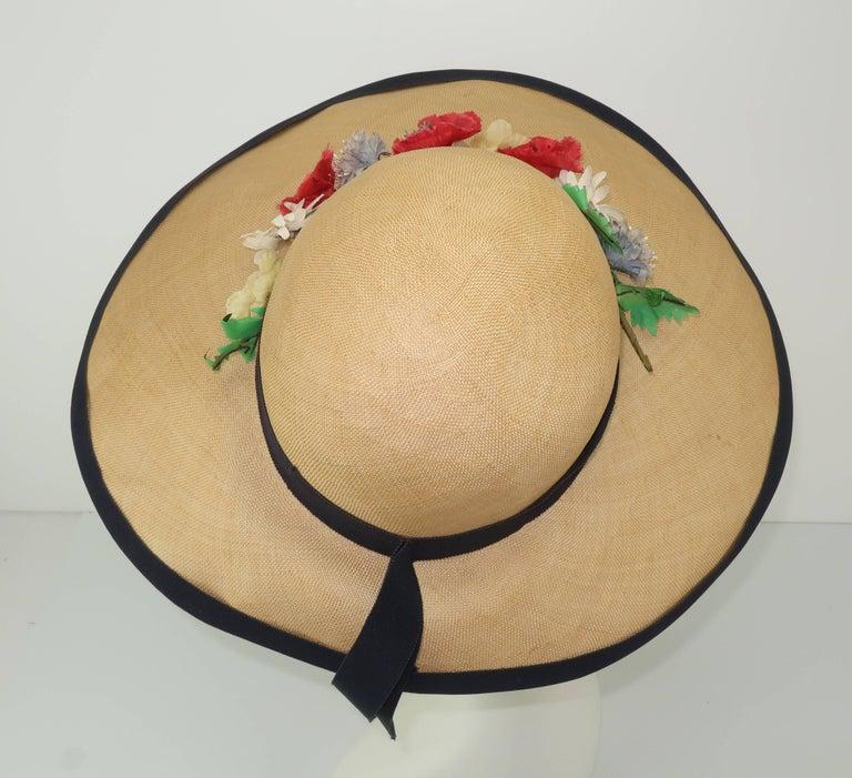 Women's C.1950 Christine Original Straw Garden Party Wide Brimmed Hat For Sale