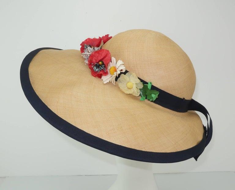 C.1950 Christine Original Straw Garden Party Wide Brimmed Hat For Sale 1