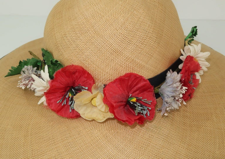 C.1950 Christine Original Straw Garden Party Wide Brimmed Hat For Sale 3