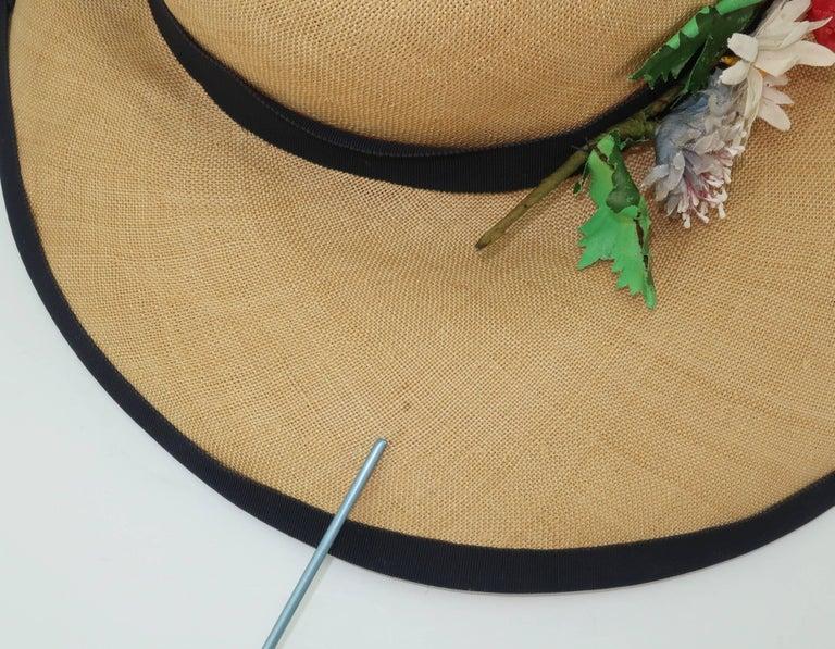 C.1950 Christine Original Straw Garden Party Wide Brimmed Hat For Sale 5